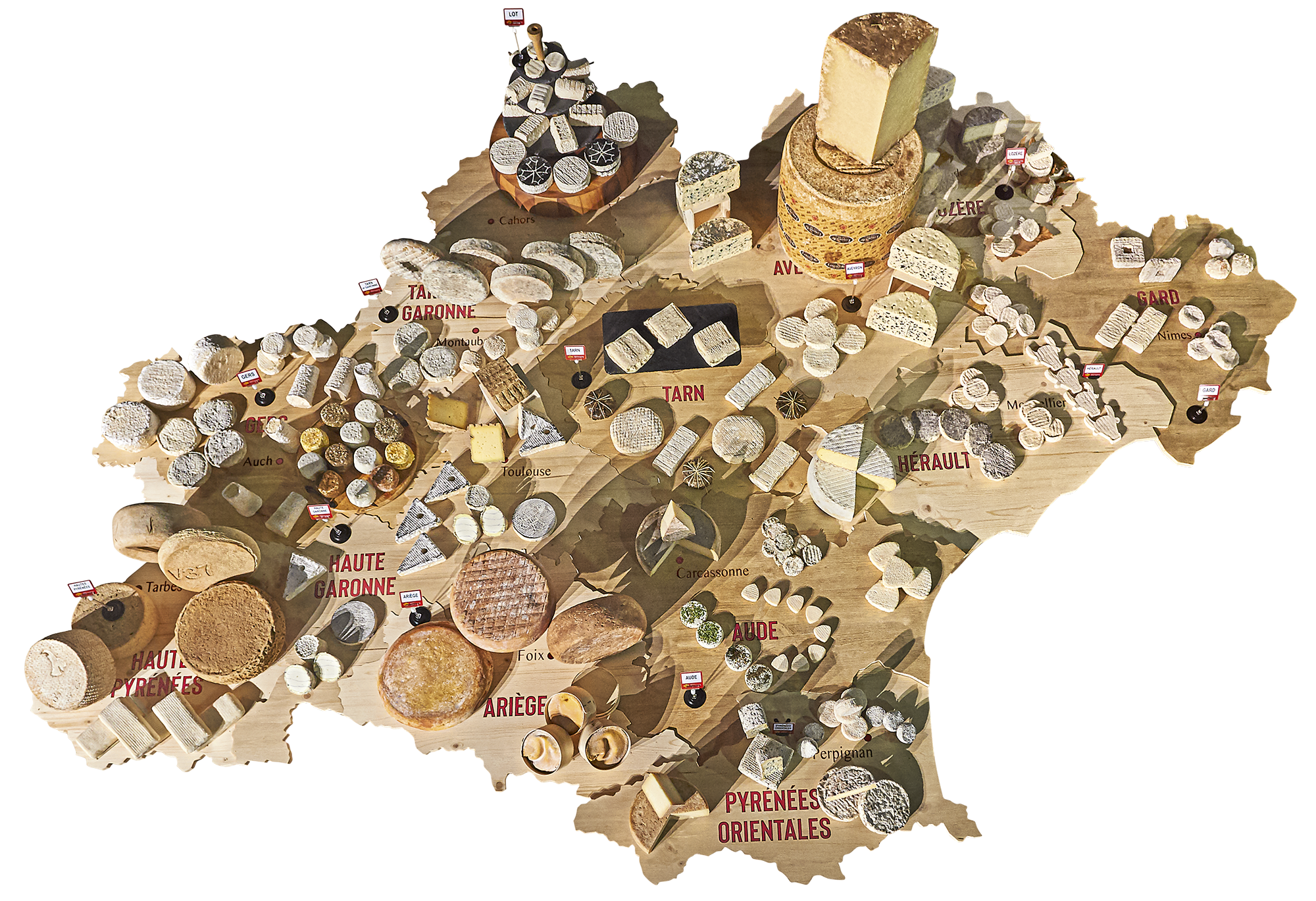 Image de carte illustrant les fromages d'occitanie